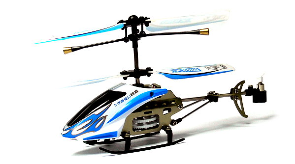 RC Model 3ch Blue Gyro LED R/C Hobby Mini Electric Helicopter RTF EH495
