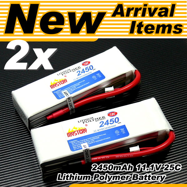 2x RC Model LiPo 2450mAh 11.1V 25C Li-Polymer Lithium Polymer Battery CA002