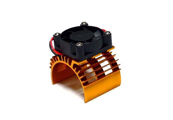 RC Model 5V 0.20A Cooling Fan & 36x33mm Motor Golden Aluminum Heat Sink AC220