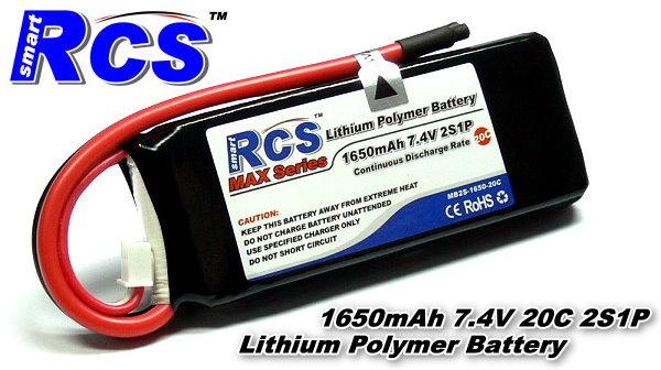 RCS Model 1650mAh 7.4V 20C LiPo Li-Polymer Lithium Polymer Battery RB701