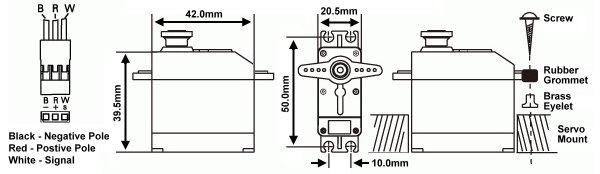RCS Model M4309 RC Metal Gear High Torque R/C Hobby Standard Servo SS824