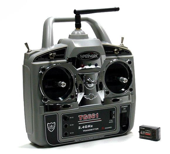SPRINGRC RC Model G61 2.4GHz 6ch R/C Hobby Transmitter & Receiver (Mode1) TS880