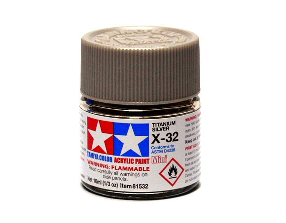 Tamiya Model Color Acrylic Paint X-32 Titanium Silver Net 10ml 81532