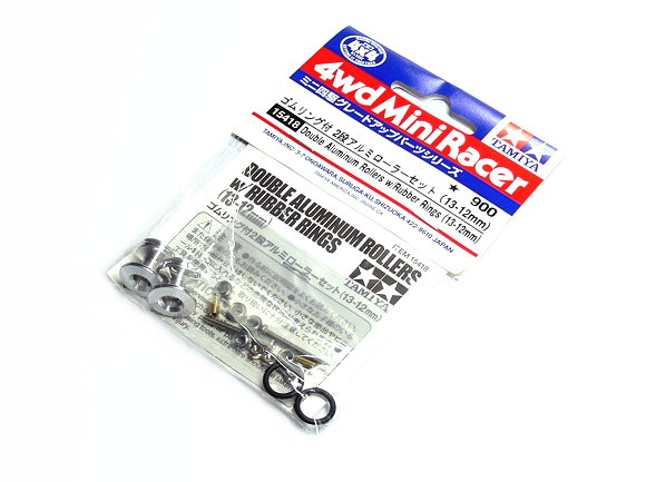 Tamiya Mini 4WD Model Racing Double Aluminum Rollers w/Rubber Rings 15418