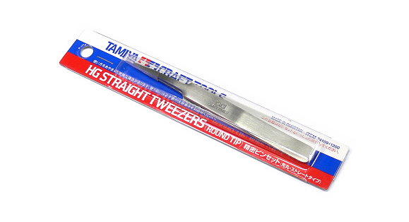 Tamiya Model Craft Tools HG Straight Tweezers (Round Tip) 74109