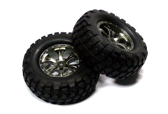 Tamiya RC Model Rock Block Tires with Tapered 6 Spoke Wheels (CC01) 54483