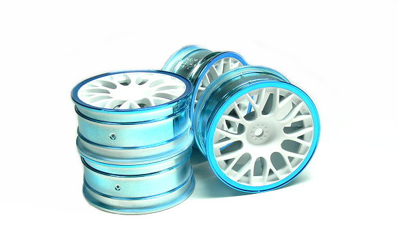 Tamiya RC Model Medium-Narrow Mesh Wheels White/Blue Rims (+2) (4pcs) 84240