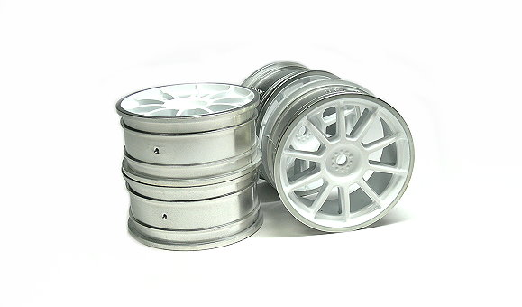 Tamiya RC Model Medium-Narrow 10-Spoke Wheels White/Chrome Rim +/-0 (4pcs) 84241
