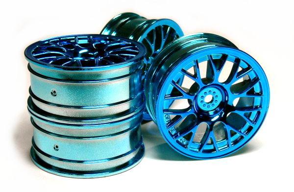 Tamiya RC Model Blue Medium-Narrow Mesh Wheels (4pcs) 49424