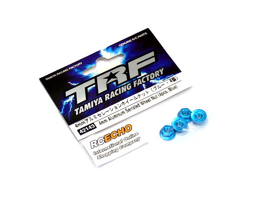 Tamiya RC Model TRF 4mm Aluminum Serrated Wheel Nut (4pcs/Blue) 42143