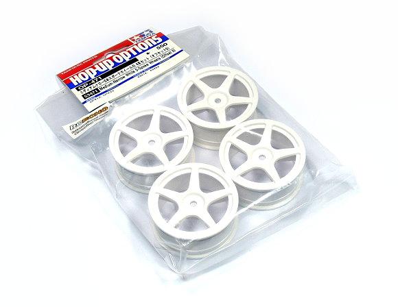 Tamiya RC Model Medium-Narrow White 5-Spoke Wheels (Offset 0) (4pcs) 53471