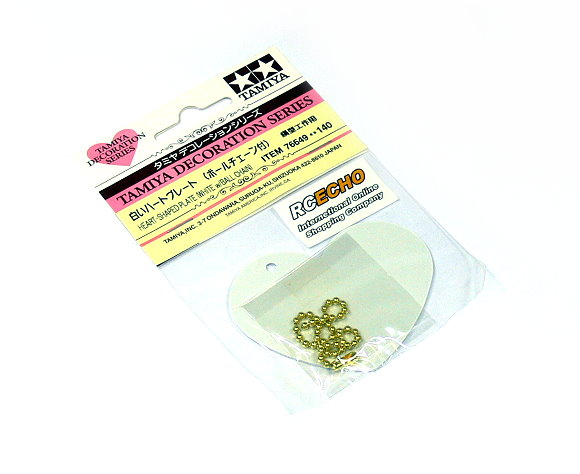 Tamiya Decoration Series Heart-Shaped Plate (White w/Ball Chain) 76649