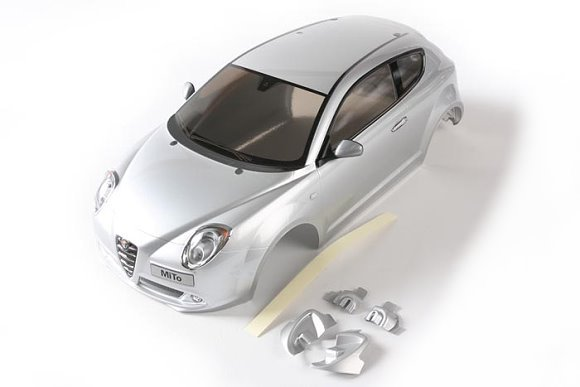 Tamiya RC Car Body 1/10 Scale Alfa Romeo MiTo Body Part (Silver, Finished) 84279