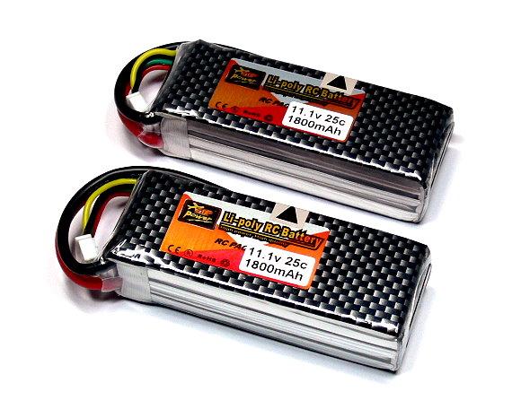 2x ZOP RC Model 1800mah 11.1v 25C LiPo Li-Polymer Lithium Polymer Battery CA155