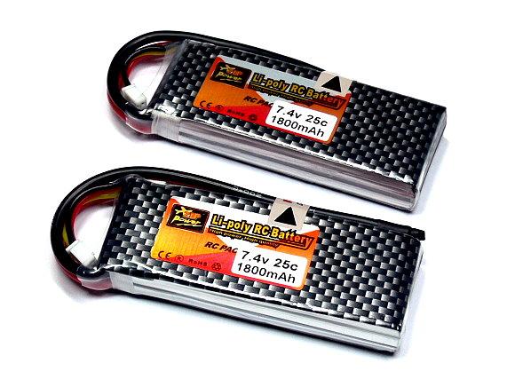 2x ZOP RC Model 1800mah 7.4v 25C LiPo Li-Polymer Lithium Polymer Battery CA154