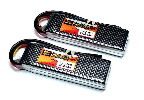 2x ZOP RC Model 2200mah 7.4v 25C LiPo Li-Polymer Lithium Polymer Battery CA156
