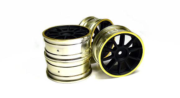 Offset +0 Tamiya 84254 RC Medium-Narrow 10-Spoke Wheels White//Gold RIM